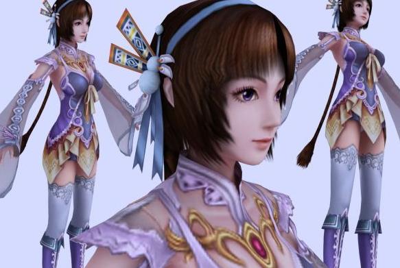 游戏中的人物角色女子3dmax模型下载图片