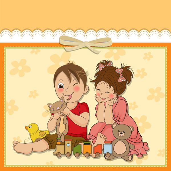 [素材下载]可爱卡通风格儿童卡片设计矢量素材-1